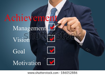 business hand writing achievement concept