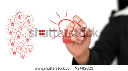 business Hand Writing Big Idea Team for Creativity Team for Brainstorming Concept (Selective focus at Pen) - stock photo