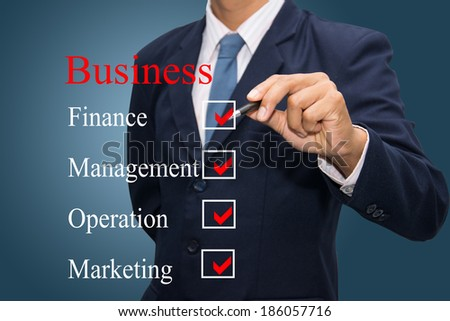 business hand writing business concept