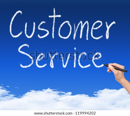 business hand writing customer service cloud text on blue sky - stock photo
