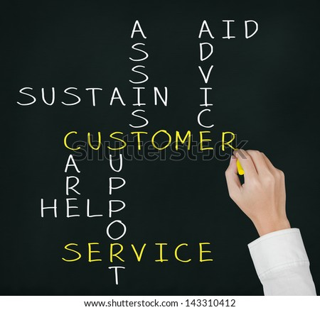 business hand writing customer service concept crossword - stock photo