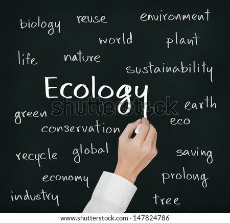 business hand writing ecology concept - stock photo