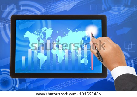 Business hand writing higher graph on tablet