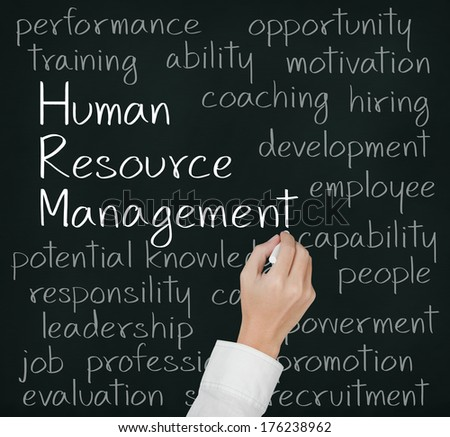 business hand writing human resource management concept - stock photo
