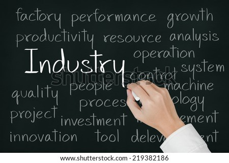 business hand writing industry concept on chalkboard
