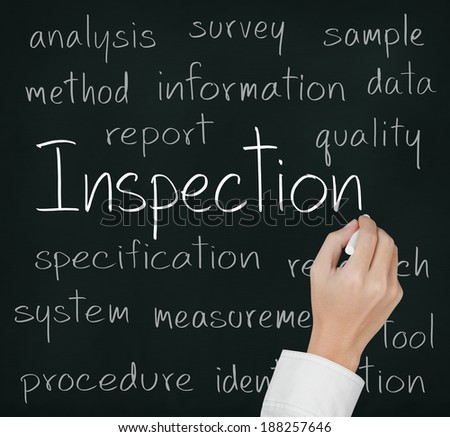 business hand writing inspection concept on chalkboard