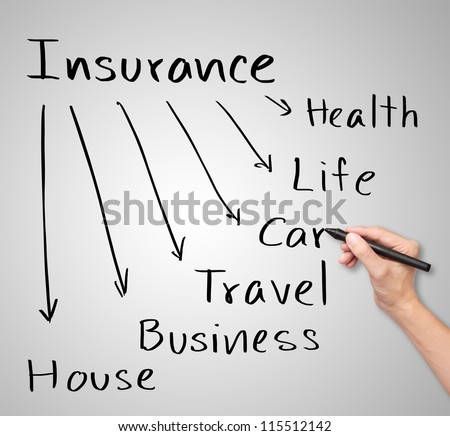 business hand writing insurance concept - stock photo