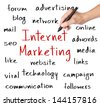 business hand writing internet marketing concept - stock