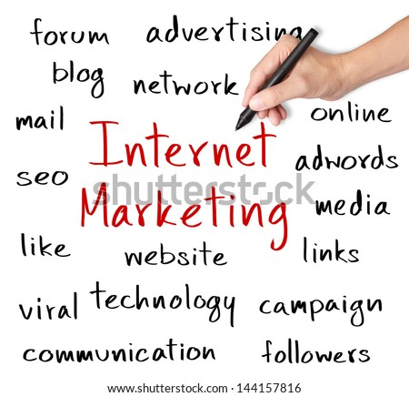 business hand writing internet marketing concept - stock photo