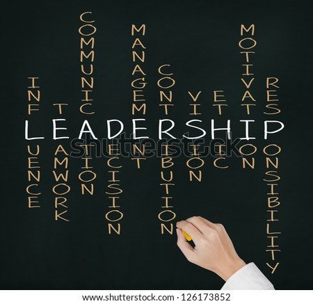 business hand writing leadership skill concept by crossword - stock photo