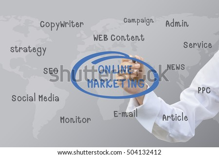 Business Hand Writing Online Marketing Concept