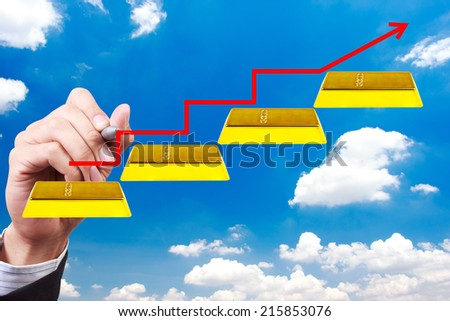 business hand writing rising arrow walking up gold bars stepping ladder on blue sky idea concept for success and growth - stock photo