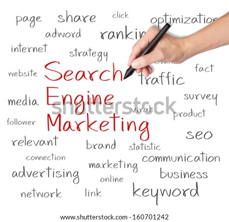 business hand writing search engine marketing concept - stock photo