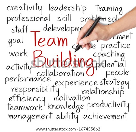 business hand writing team building concept - stock photo