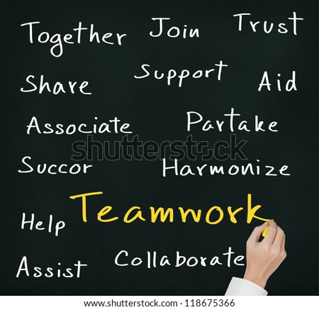 business hand writing teamwork concept
