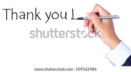 Business hand, writing thank you - stock photo
