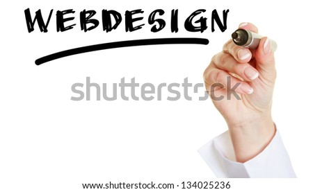 Business hand writing the word Webdesign with a black pen - stock photo