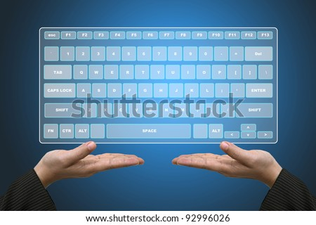 Business Hands Hold Technology Virtual Keyboard Interface - stock photo