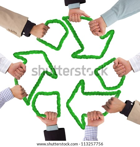 Business hands holding recycle sign isolated on white - stock photo