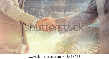 Business handshake against image of a earth - stock photo