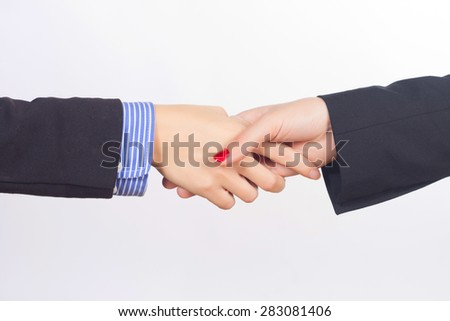 Business handshake and business people isolated on white background - stock photo