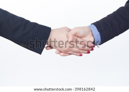 Business handshake and business people isolated on white background