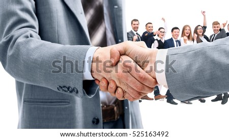 Business handshake and happy energetic business people