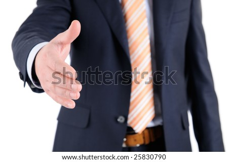 Business handshake in front of white background. - stock photo