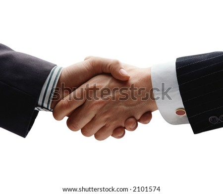 business handshake isolated on white - stock photo