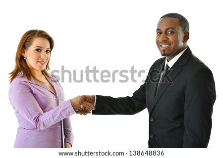 Business Handshake (man/woman) - stock photo