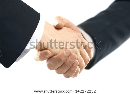 business handshake on a white background - stock photo