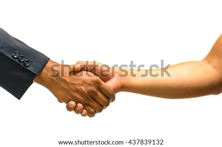 Business handshake on white background , copy space. - stock photo