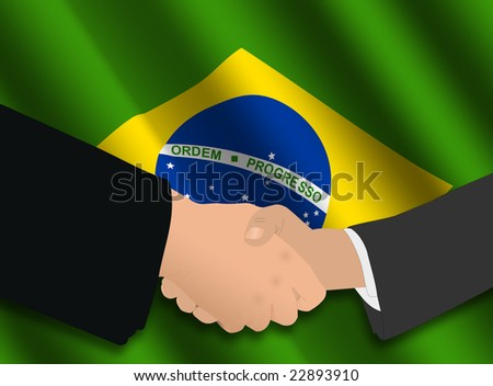 business handshake over Brazilian flag illustration