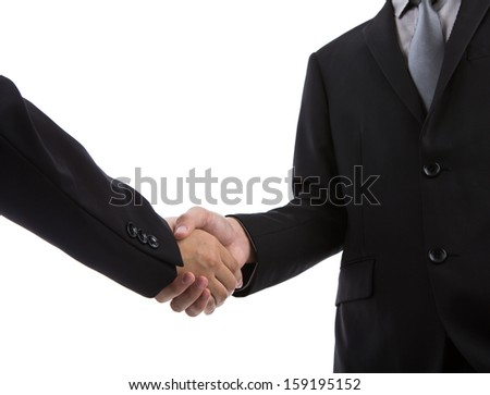 Business handshake over white background