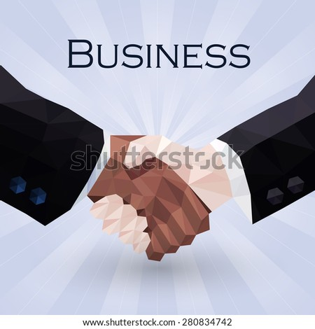 business handshake - raster illustration in low poly style - stock photo
