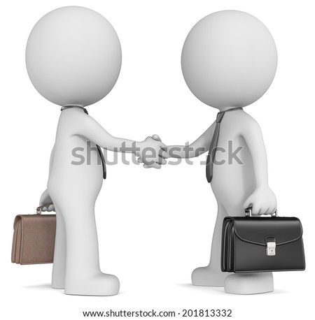 Business handshake. The Dude X 2 shaking hand wearing tie and briefcase. Side view.