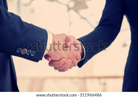 Business handshake. Two businessman shaking hands with each other in the office. - stock photo