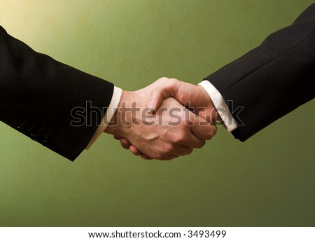 Business handshake with green background - stock photo