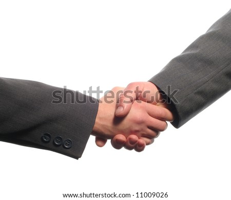 Business handshake with white background