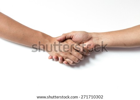 Business handshake with white background.