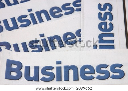 Business heading of newspapers