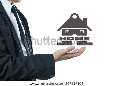 business holding home sign on white background