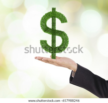 Business human hand holding dollar symbol plant
