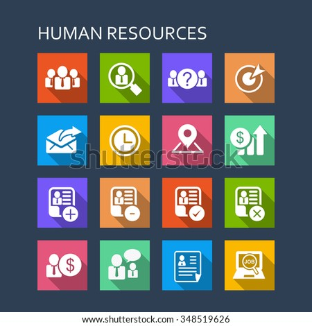 Business Human Resource icon set - Flat Series with long shadows - stock photo