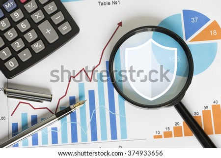 Business icon search loupe magnifier shield security virus chart. - stock photo