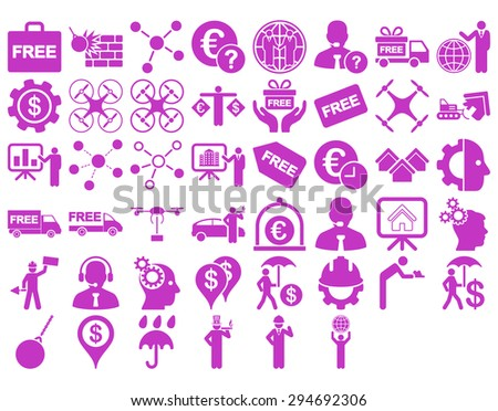 Business Icon Set. These flat icons use violet color. Glyph images are isolated on a white background.