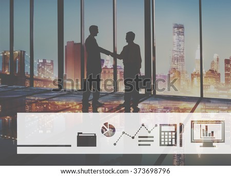Business Icons Progress Report Concept - stock photo