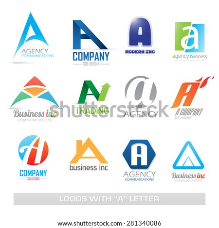 Business Icons Set Isolated On White Background with A letter - stock photo