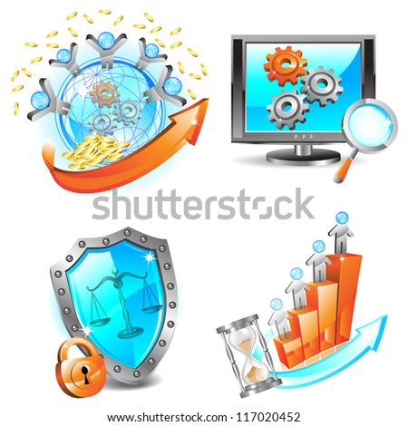 Business icons set. Raster version. Vector is also available in my gallery - stock photo