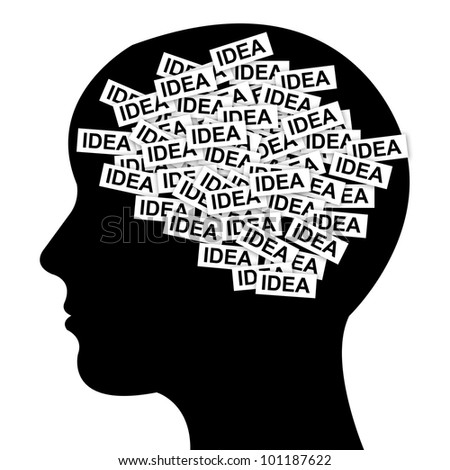 Business Idea Concept in Brain Isolated on White Background - stock photo